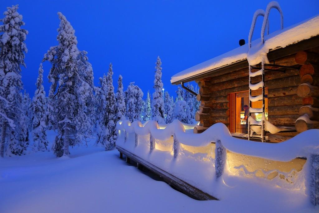 Vackra vinterlandskap ruka